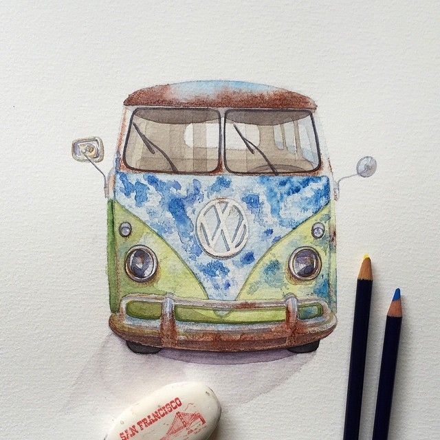Drawn vans watercolor Volkswagen Best van 25+ #vw