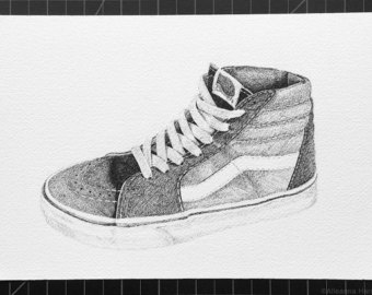 Drawn vans watercolor Etsy Drawing hi Vans Hi