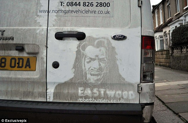Drawn vans white van Grimy driver with on his