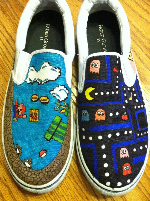 Drawn vans woman Customized Personalized Nintendo Personalized Canvas