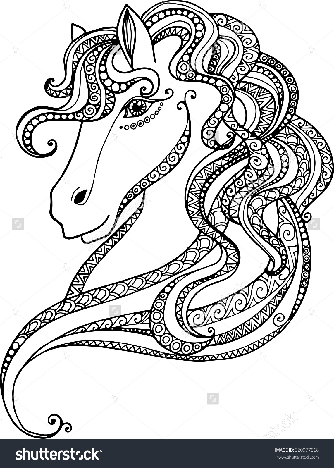 Drawn vans zentangle Hand decorative illustration Horse horse