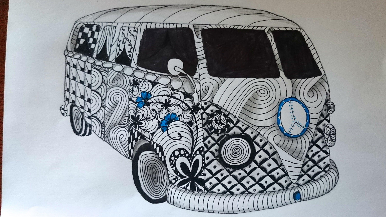 Drawn vans zentangle Zentangle Art Kombi Vw Inspired