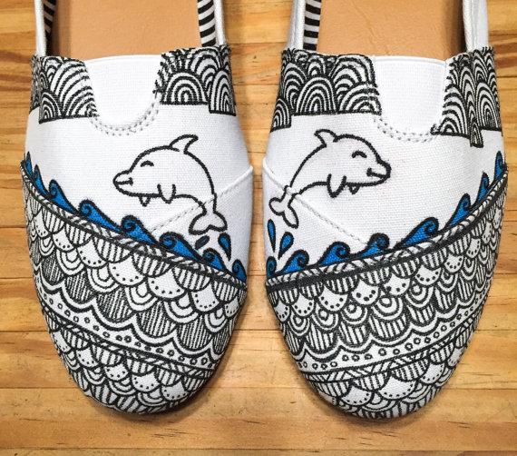 Drawn vans zentangle Custom style *Dolphins womens love