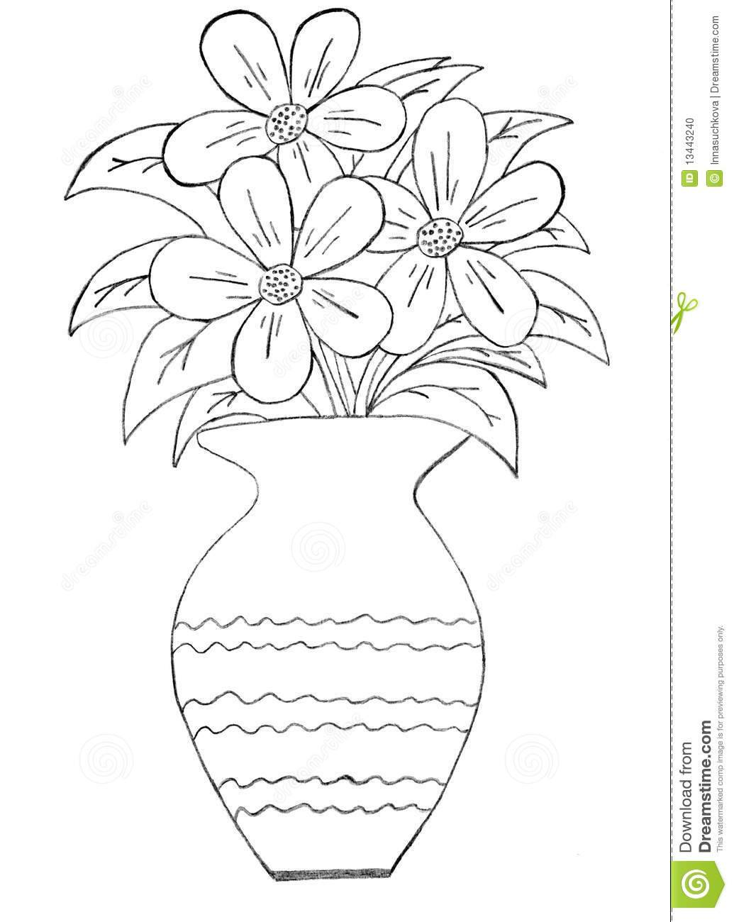 Drawn rose vase drawing Guide of  And Ideas