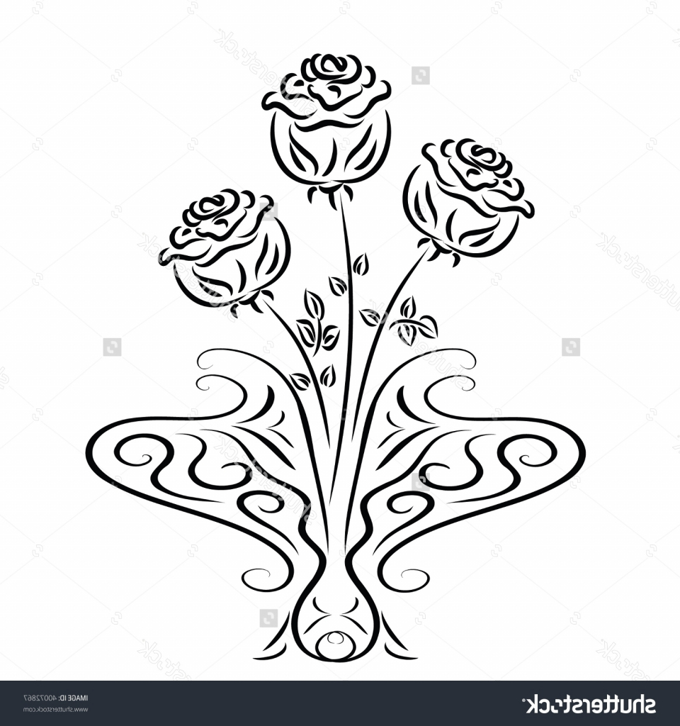 Drawn vase base Of Flower  Drawing A