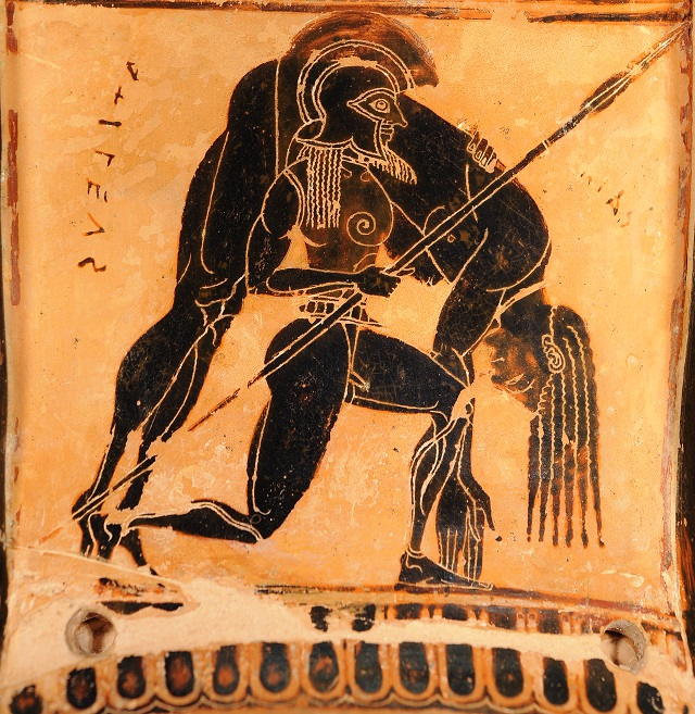 Drawn vase black and red Body (Archaeological Museum) carrying in