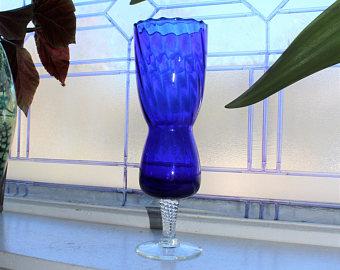 Drawn vase blue Cobalt white  Wall blue