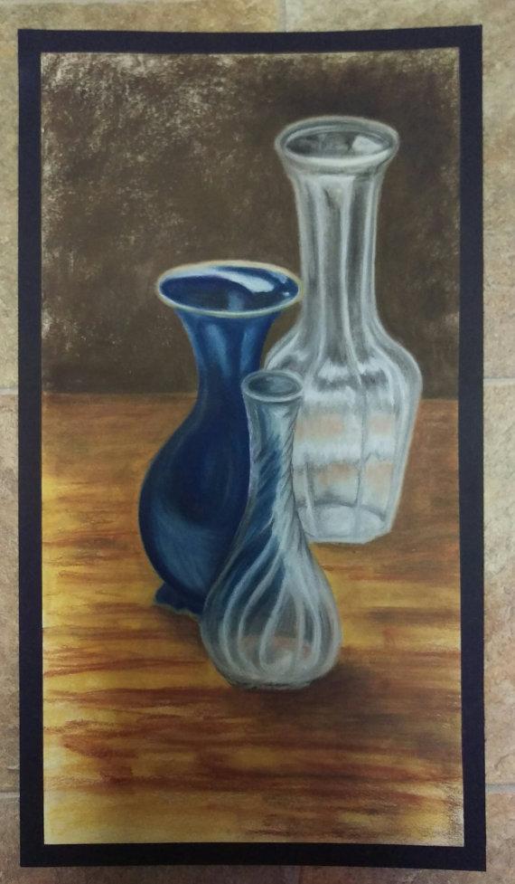 Drawn vase blue Life  Artwork Blue White