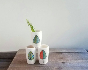 Drawn vase blue Vase green small and ceramic