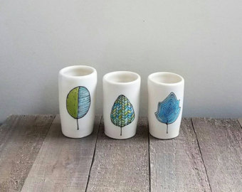 Drawn vase blue Vase green small and vases