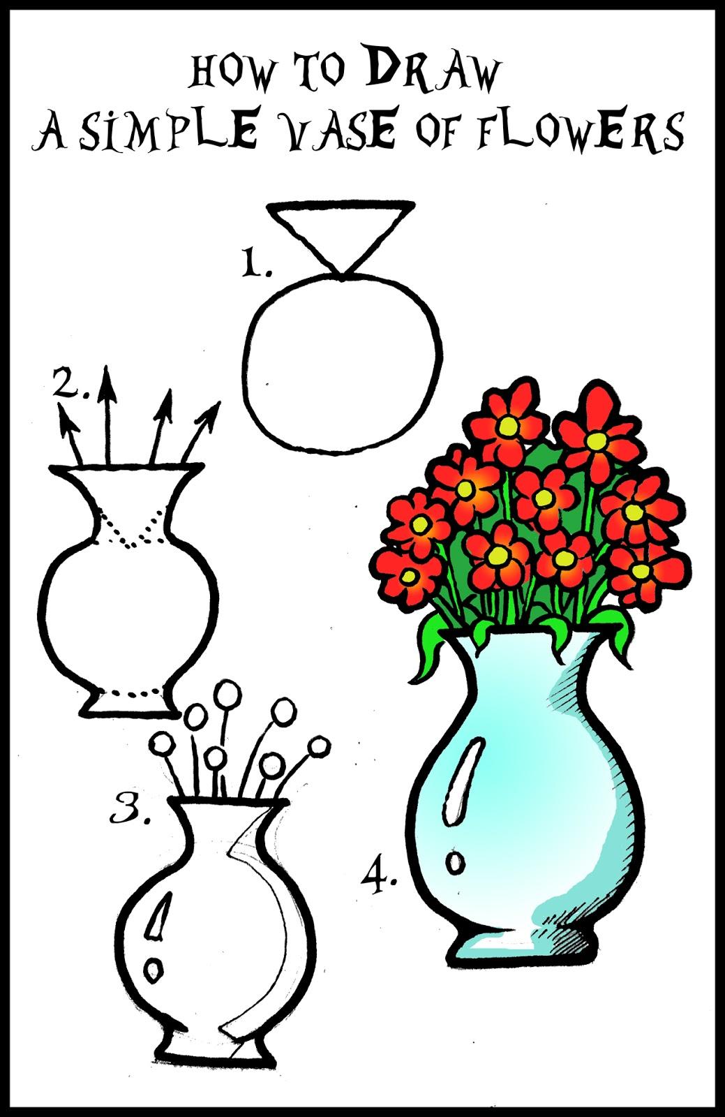 Drawn vase cartoon Roses Of Artwork: step How
