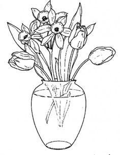 Drawn vase color Vase Art Glass Flowers In
