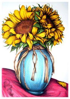 Drawn vase color #sunflower And #Mom #art #artist