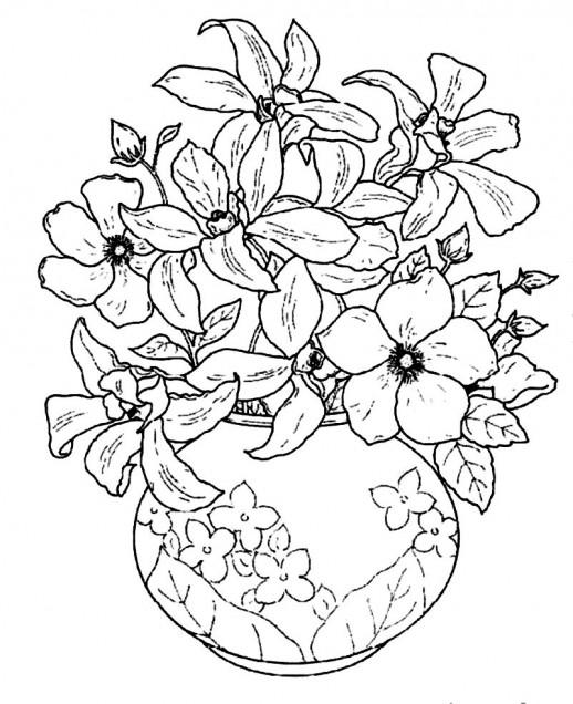 Drawn vase color Flowering In Beautiful Beautiful