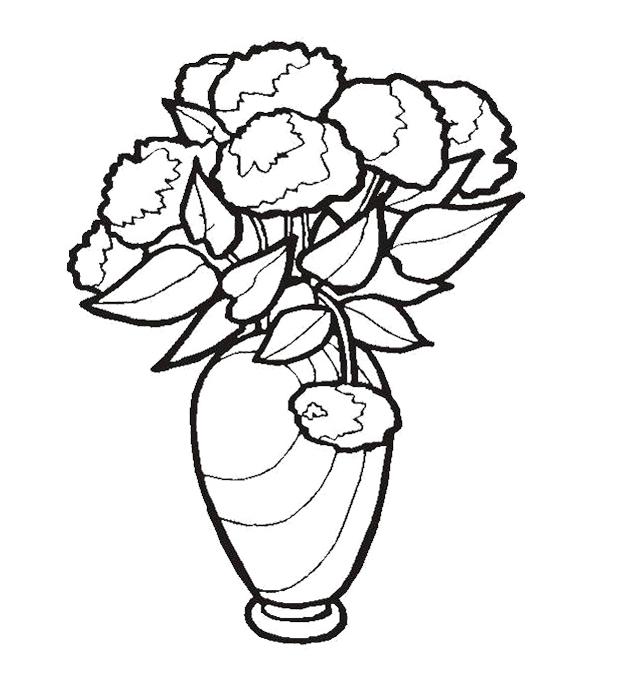 Drawn vase color Page Vase Coloring Beautiful