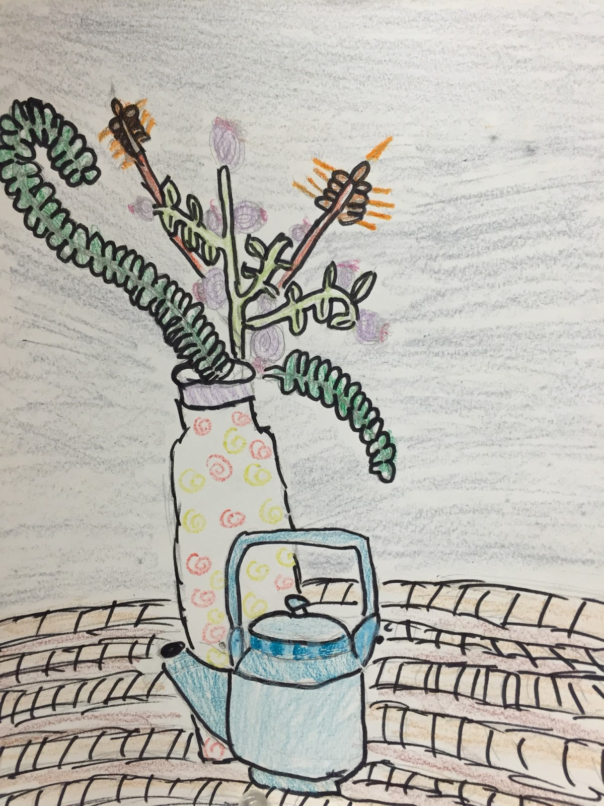 Drawn vase curved Angled five to in line