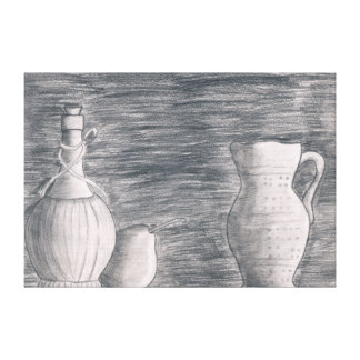 Drawn vase dead nature Chalk Zazzle Drawings Canvas Wrapped