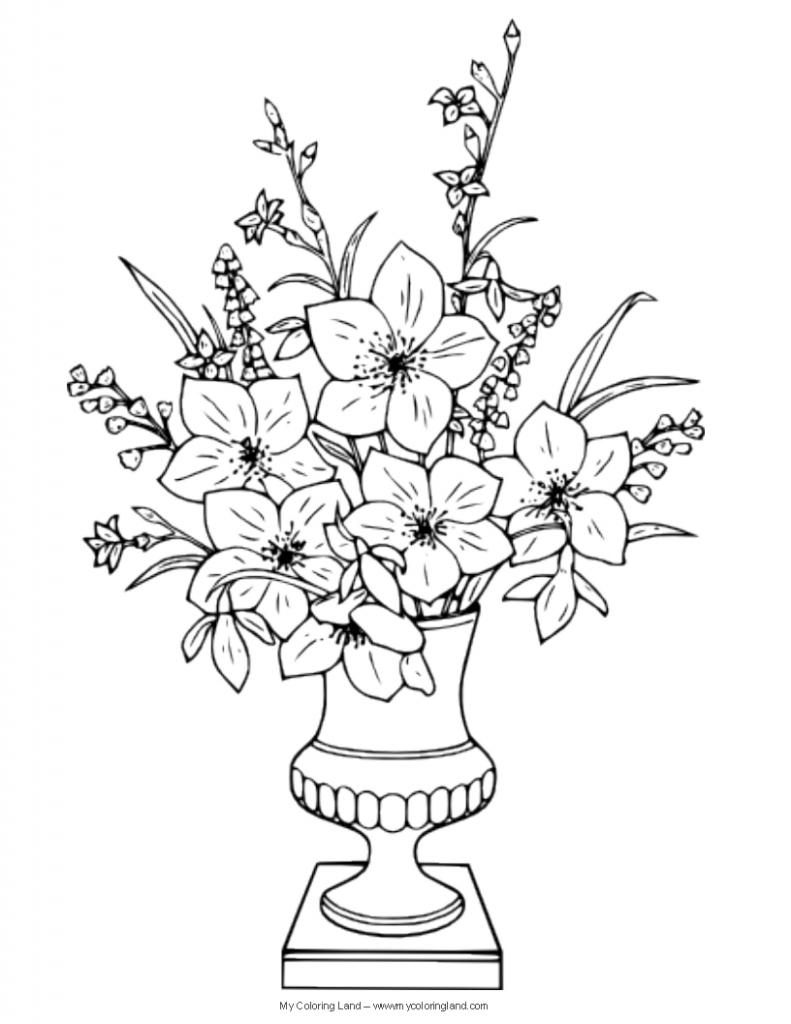 Drawn vase flower bouquet Coloring Draw Flower – Bouquets