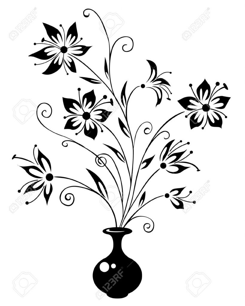 Pencil clipart vase Vase Flowers Flowers Drawing Of