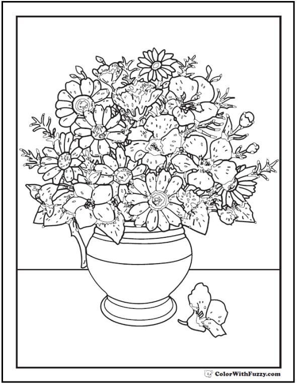 Drawn vase flower bouquet 102+ Coloring Pages Customize Vase
