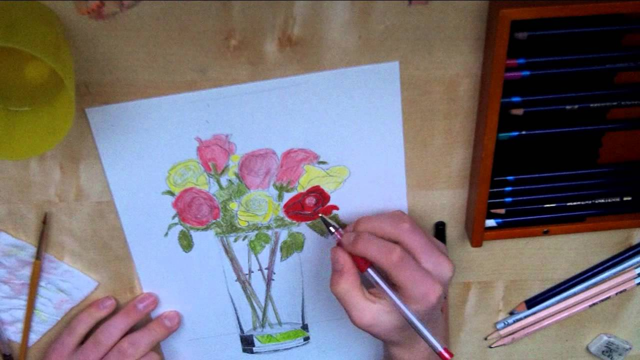 Drawn vase flower bouquet Flowers Vase Time Time Lapse