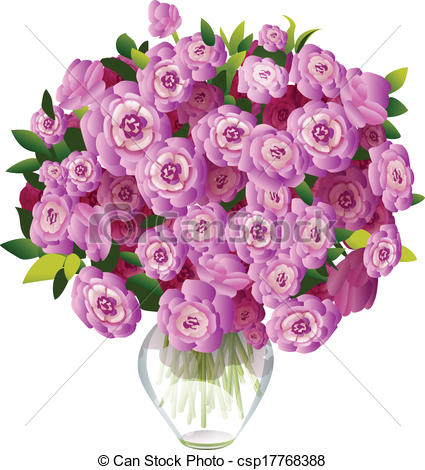 Drawn vase flower bouquet Vase pink flowers of in