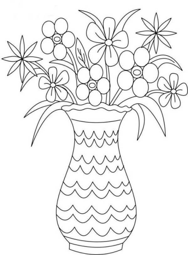 Drawn vase flower bouquet Page: Bouquet in Picture Vase