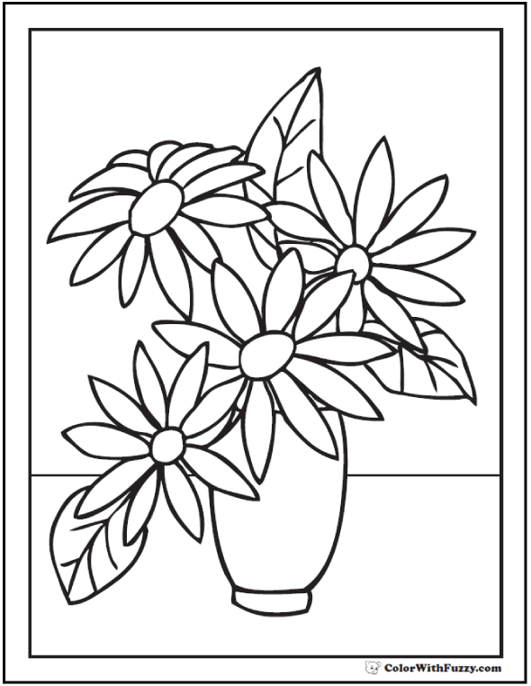 Drawn vase flower coloring page Pages and Flowers Coloring Customize