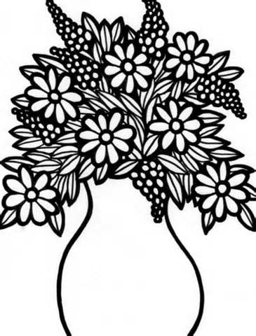 Drawn vase flower coloring page Drawing Flowers Coloring Coloring Flower