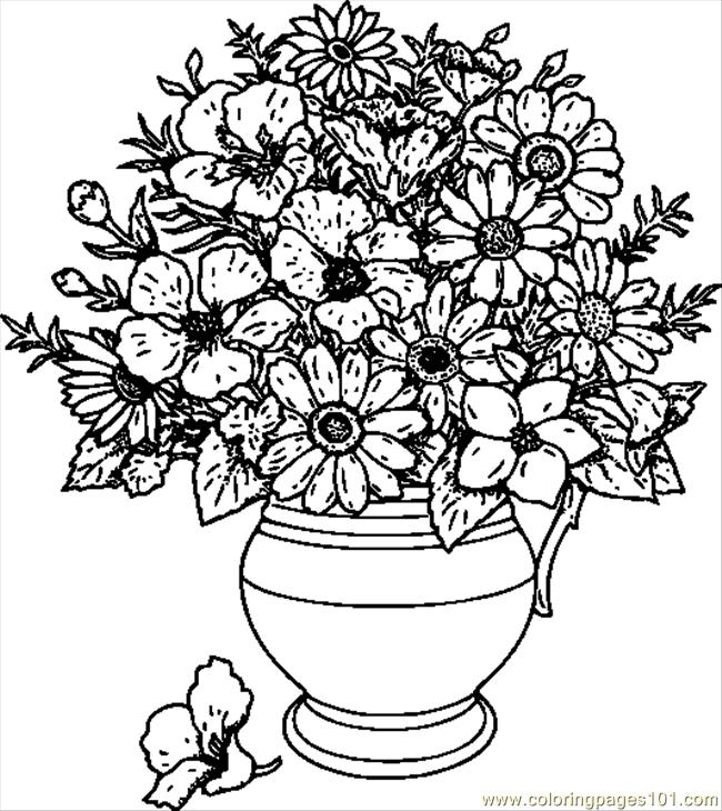 Drawn vase flower coloring page Coloring In A Coloring