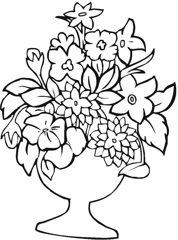 Drawn vase flower coloring page Page & Pottery  Vase