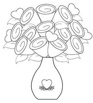 Drawn vase flower coloring page Work Download Free pages
