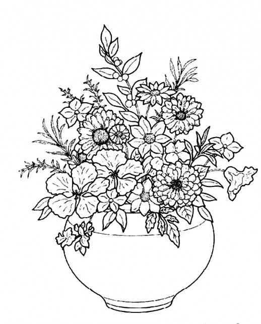 Drawn vase flower coloring page Plain  in round vase