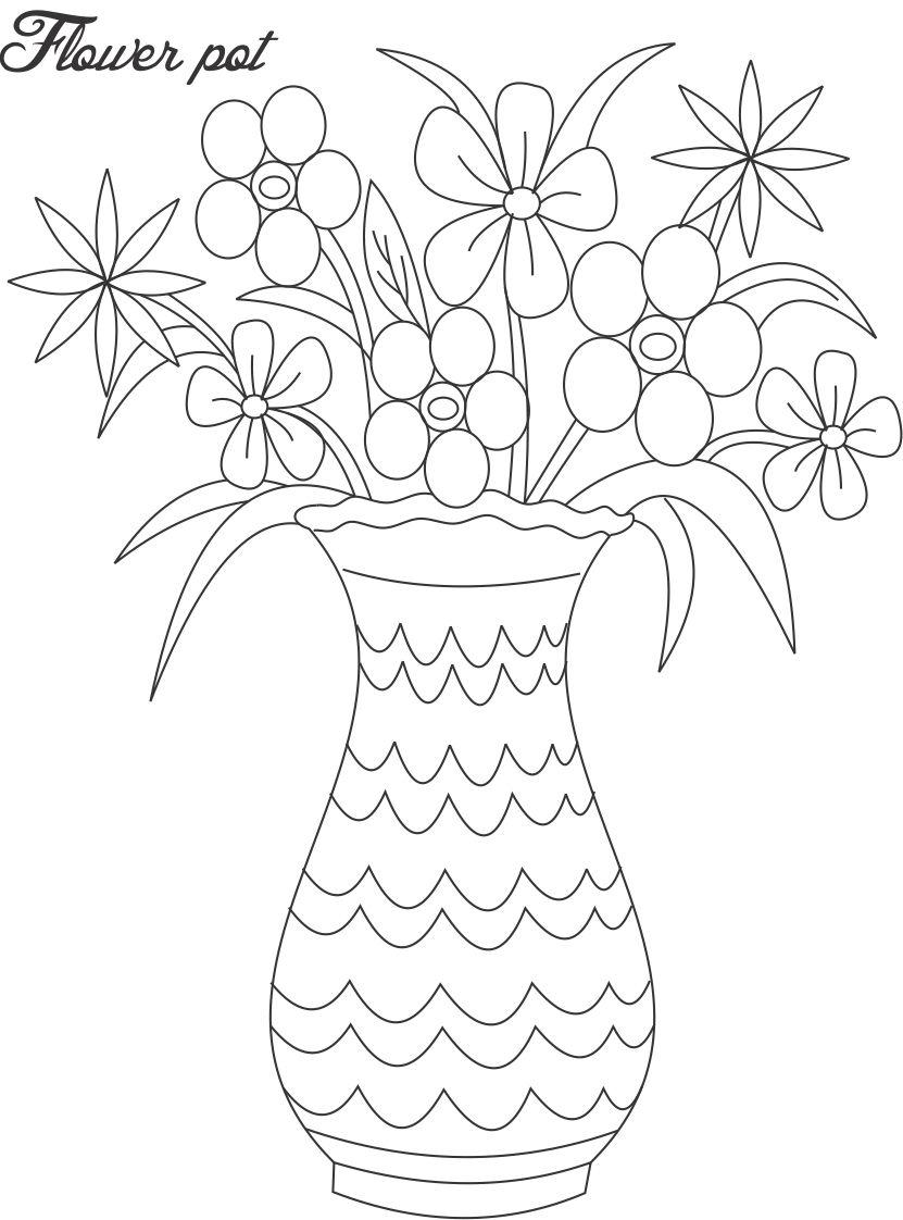 Drawn vase flower coloring page Vases  of flowers Google