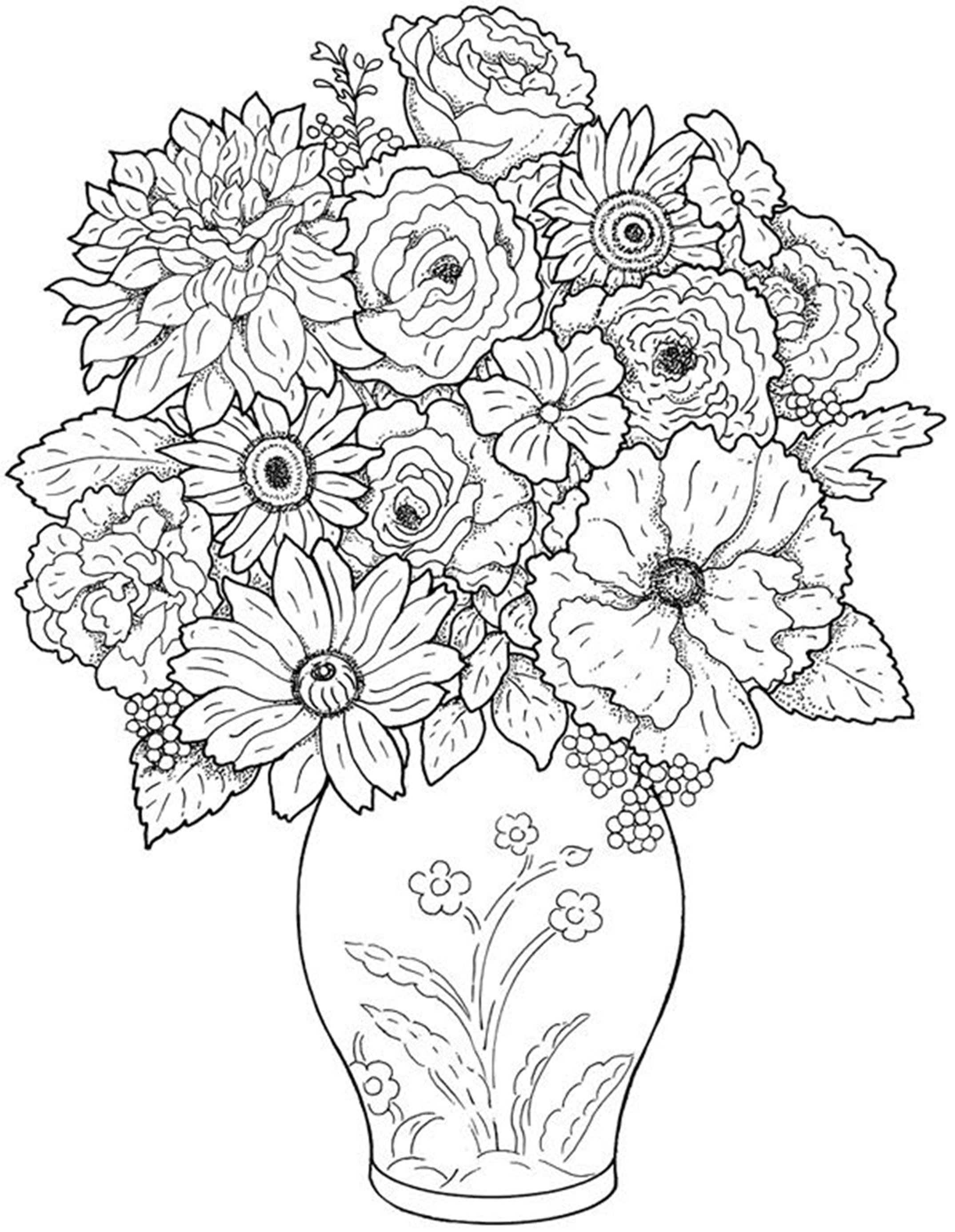 Drawn vase flower coloring page Free flower coloring  Coloring