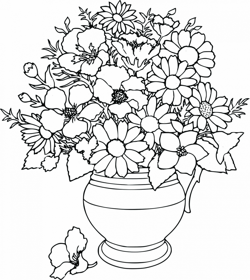 Drawn vase flower coloring page Kids In Flowers travel com