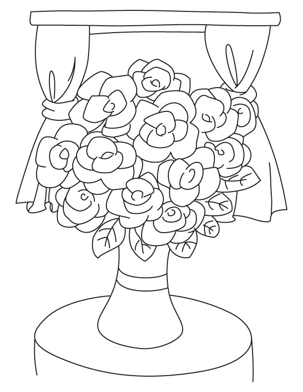 Drawn vase flower coloring page A Flower Vase for A