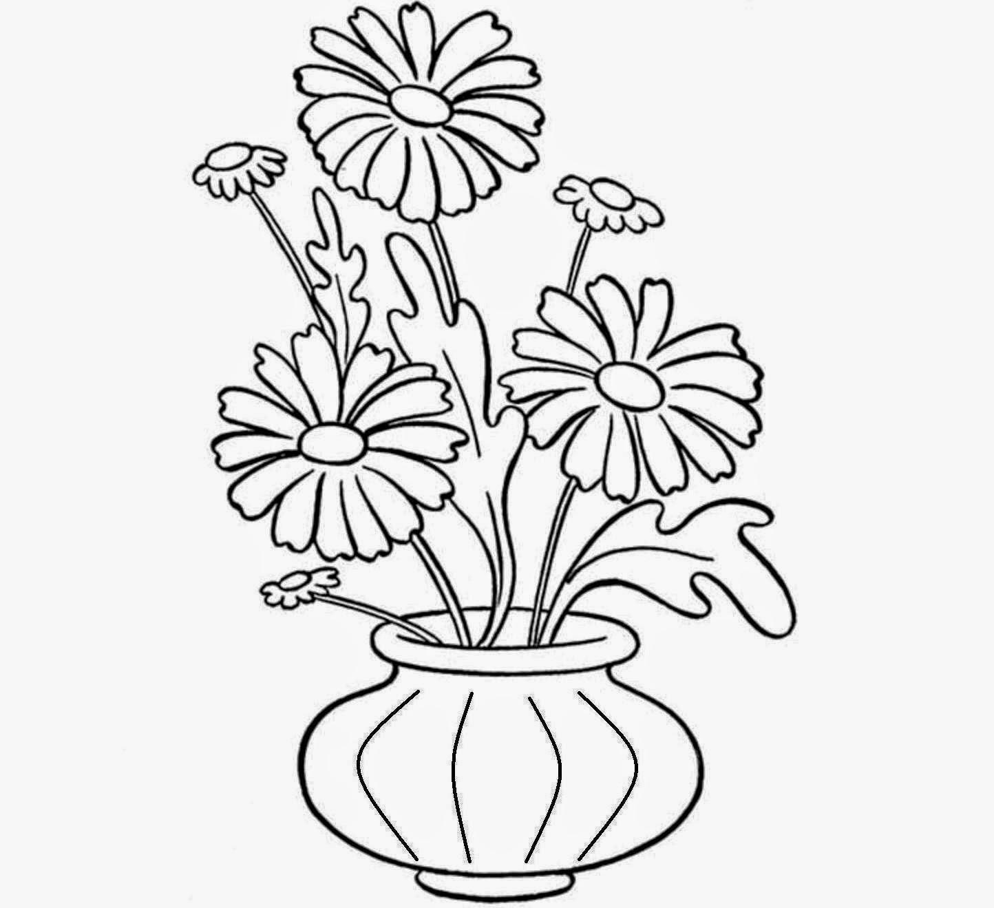 Drawn vase flower vase For Flower Flowers Drawings Sketch