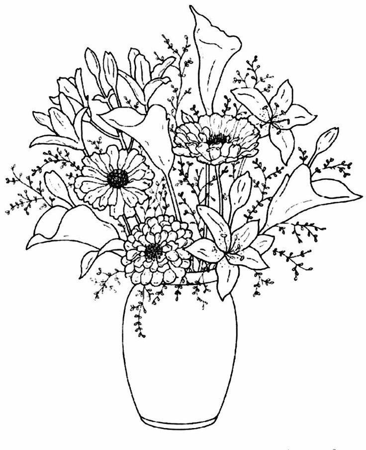 Drawn vase flower vase Printable Flower For Kids Drawing