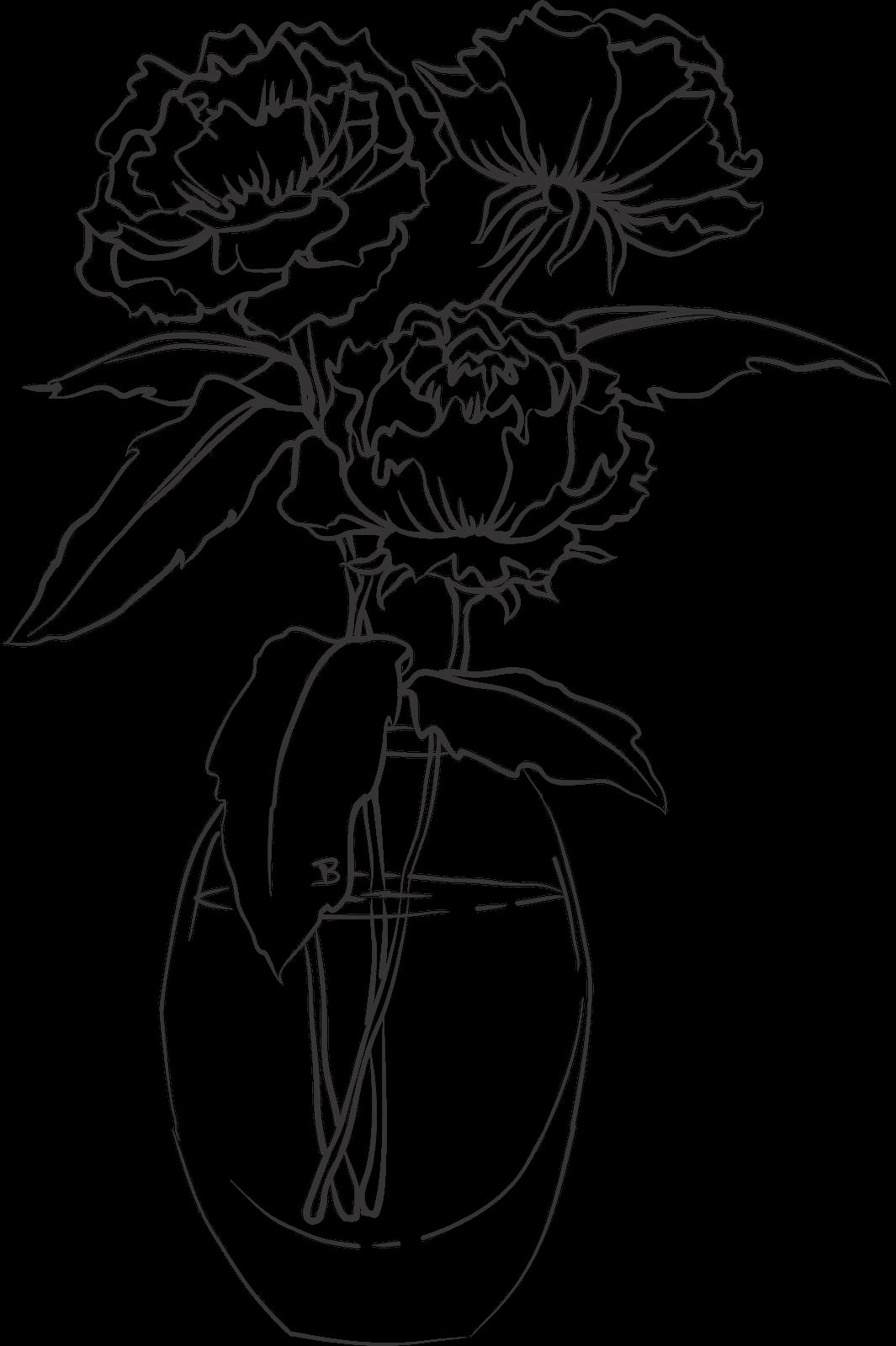 Drawn vase full flower  : Close Coloring I'm