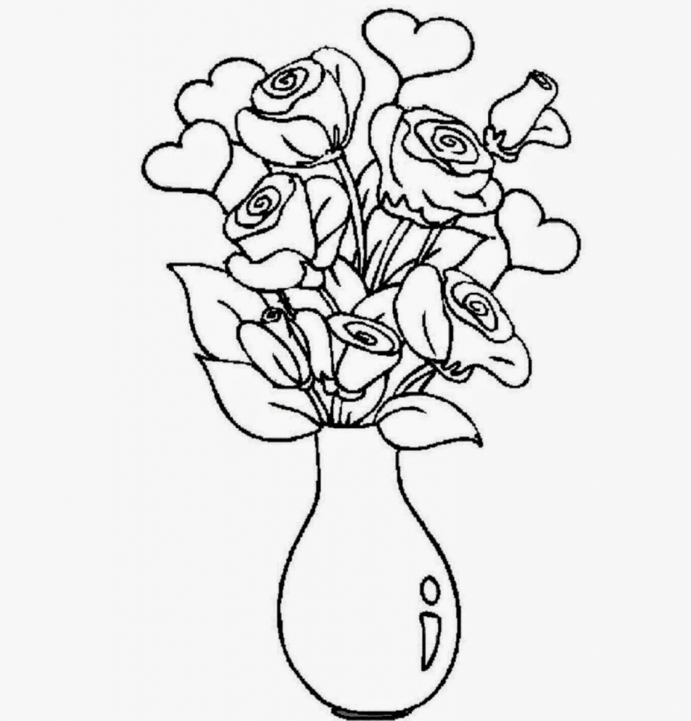 Drawn vase full flower  Flowers With Colour Flower