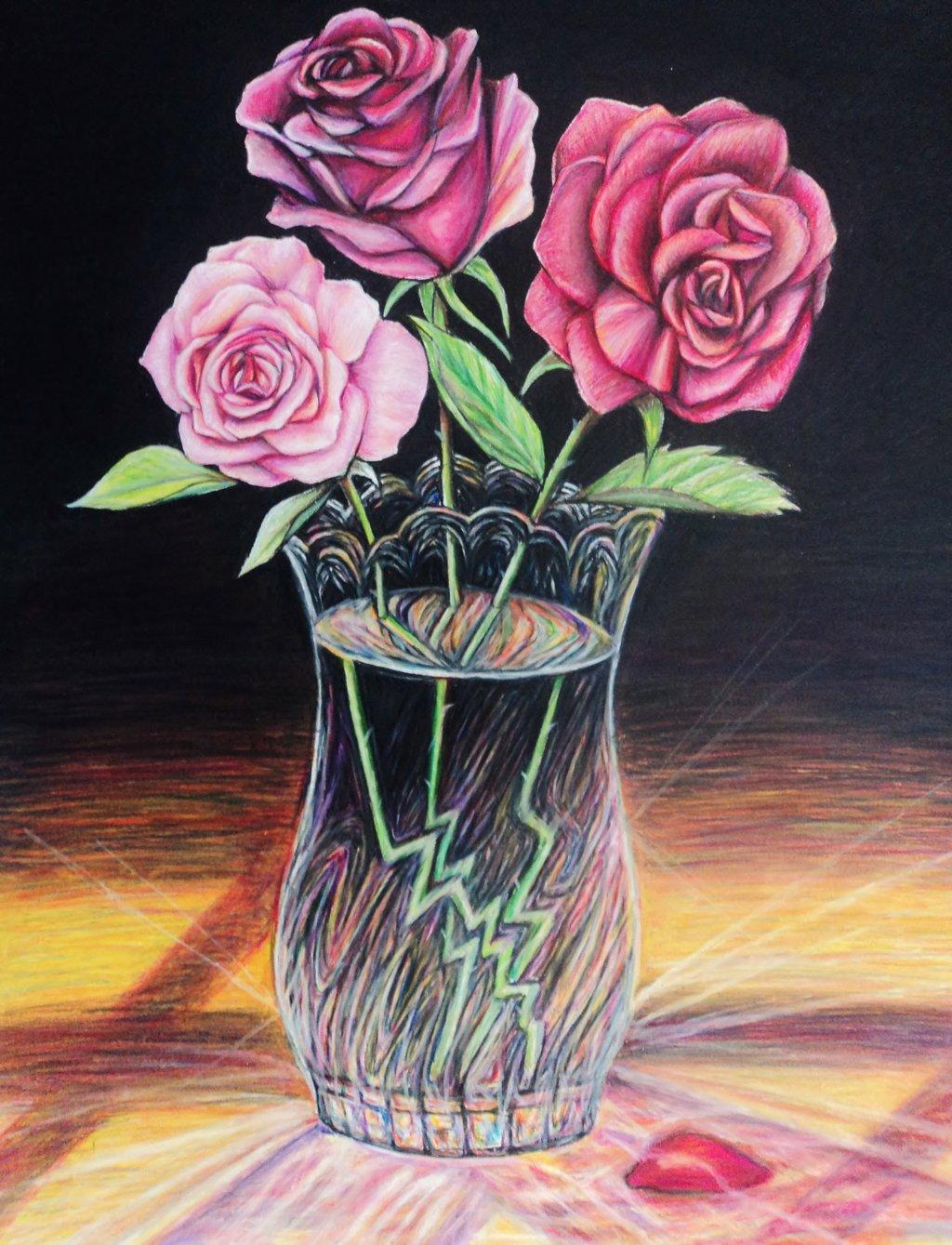 Drawn rose glass vase By vase Glass Glass NgaNguyen712