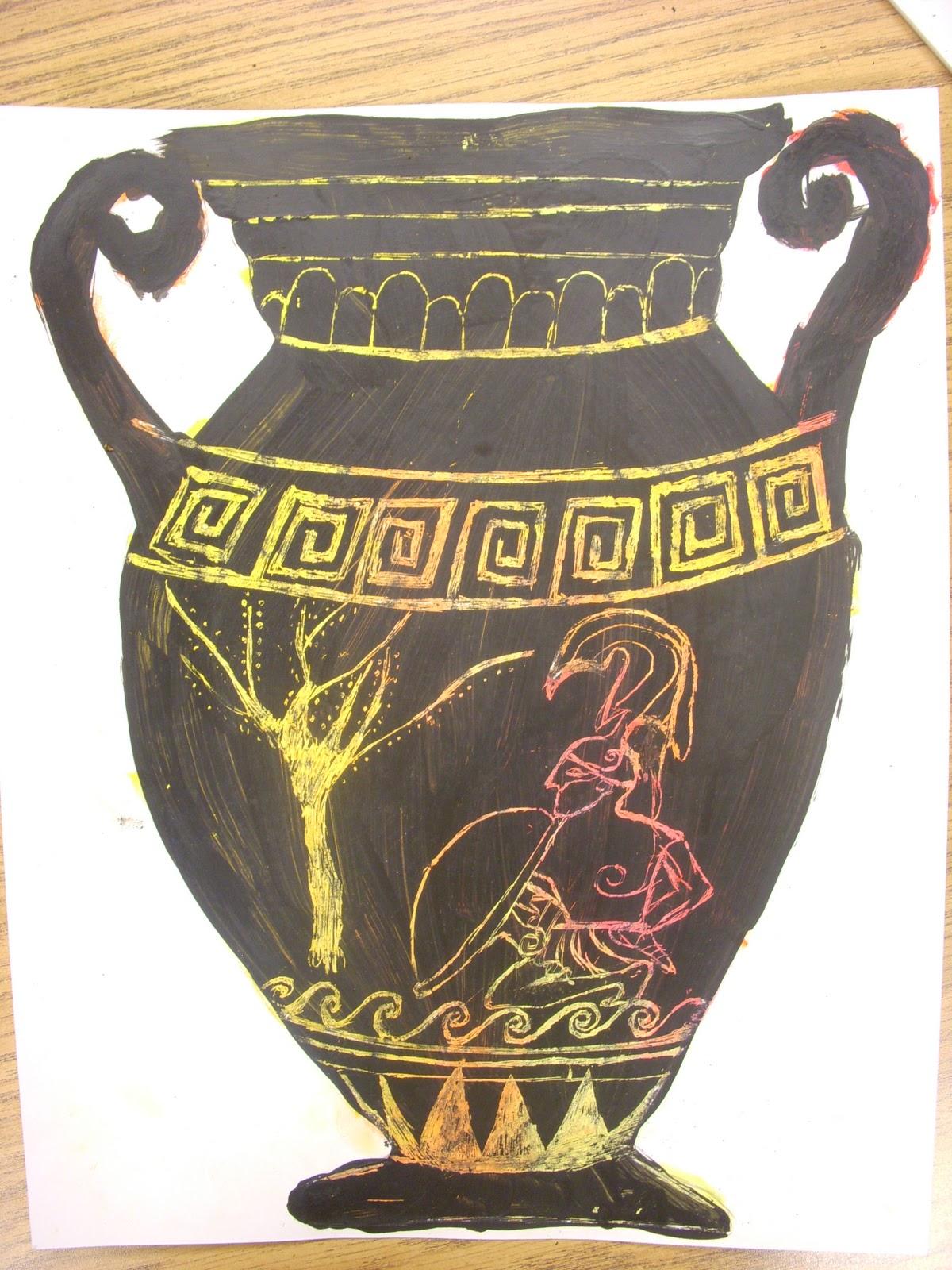Drawn vase greek pottery GREEK! Artists: history Scratch GREEK!