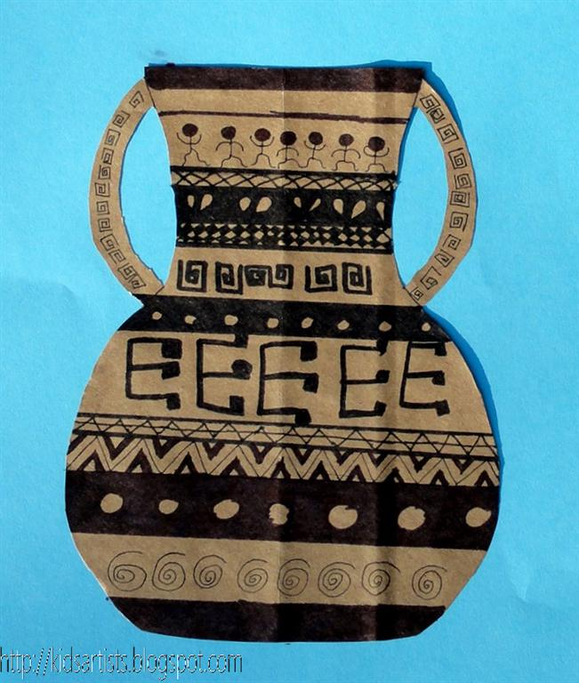 Drawn vase greek pottery Pottery Greek Greek pottery Kids