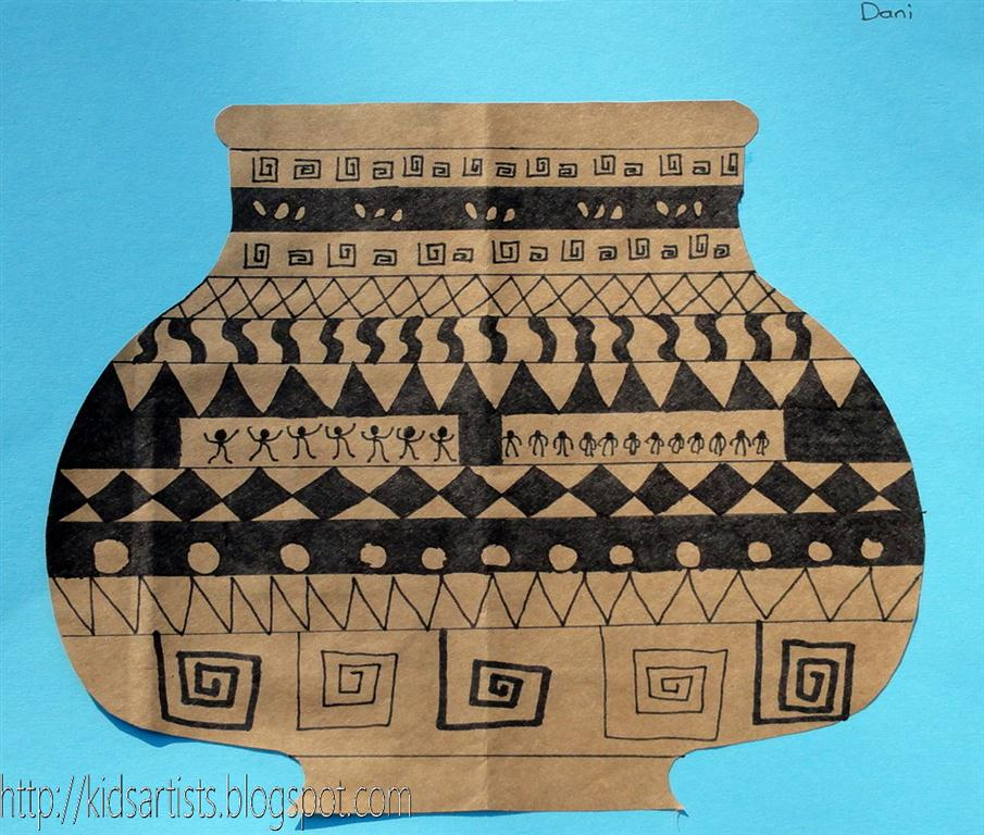 Drawn vase greek pottery Vase a half people Greek