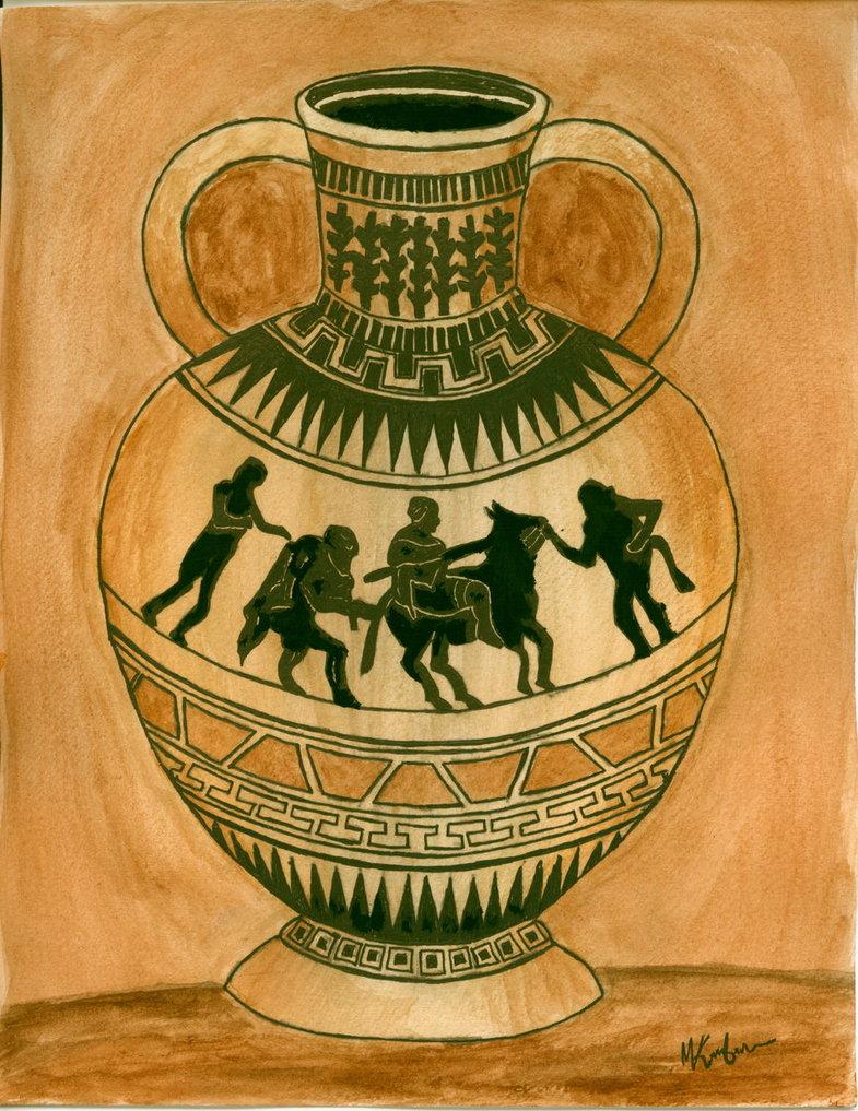 Drawn vase greek vase Mk12360 Greek by Vase on