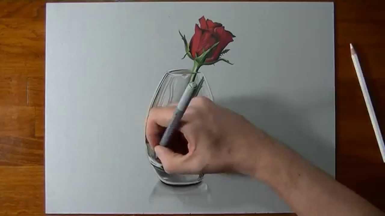 Drawn rose glass vase Illusion vase a in in