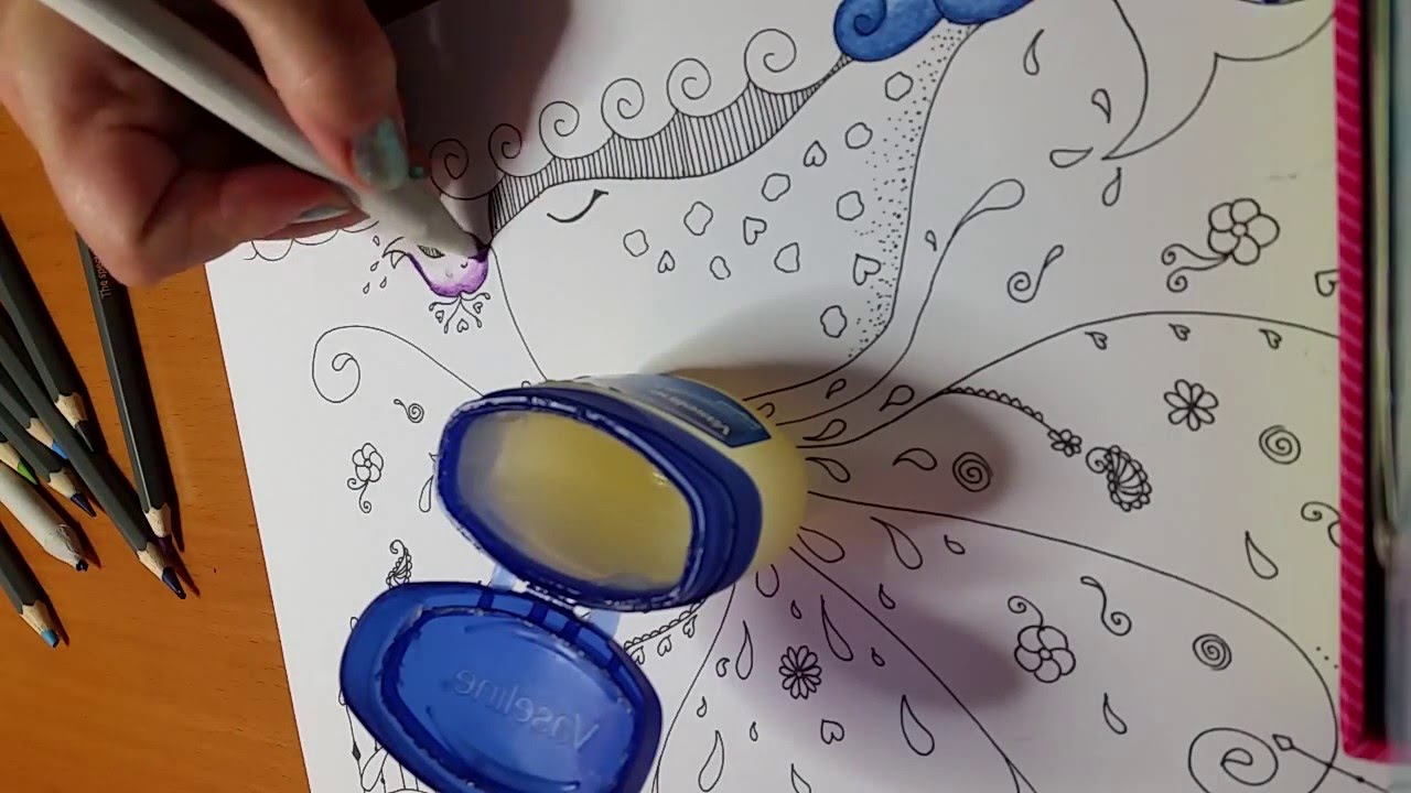 Drawn vase line drawing Coloured pencils Blending coloured with