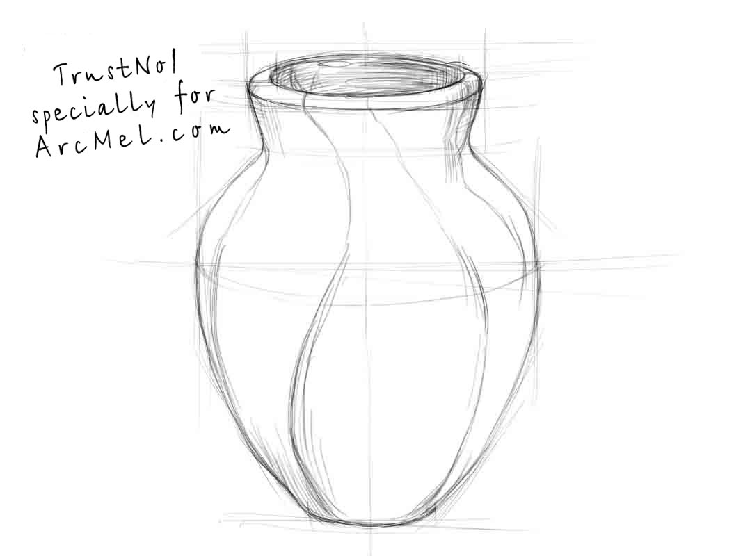 Drawn vase line drawing Vase a How step draw