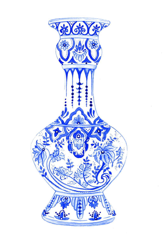 Drawn vase ming vase Printing in Indigo in Vase